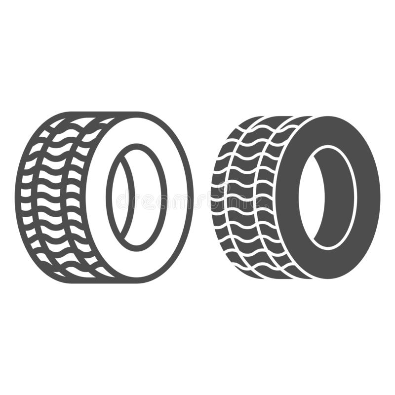 Tire line and glyph icon. Automobile wheel vector illustration isolated on white. Car tyre outline style design vector illustration
