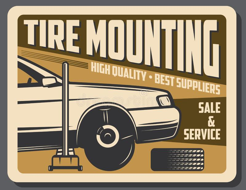 Tire mounting car service and sale stock illustration