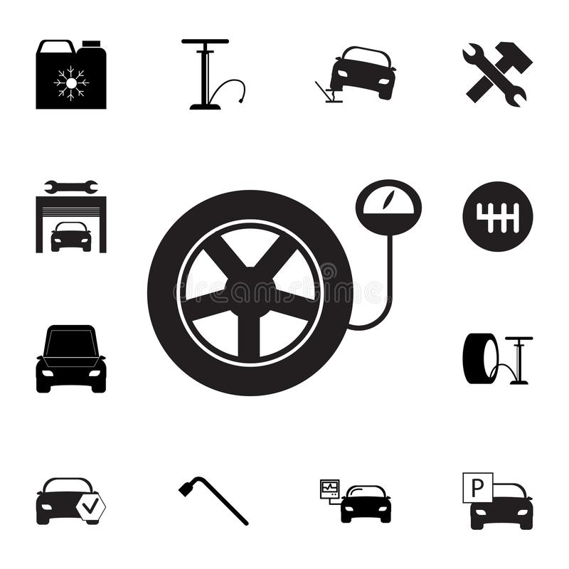 Tire pressure gauge. Car wheel with manometer icon. Set of car repair icons. Signs, outline eco collection, simple icons for websi royalty free illustration