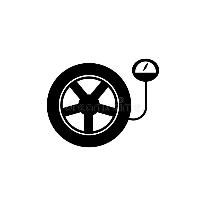 Tire Pressure Gauge Car Wheel With Manometer Icon Stock Vector