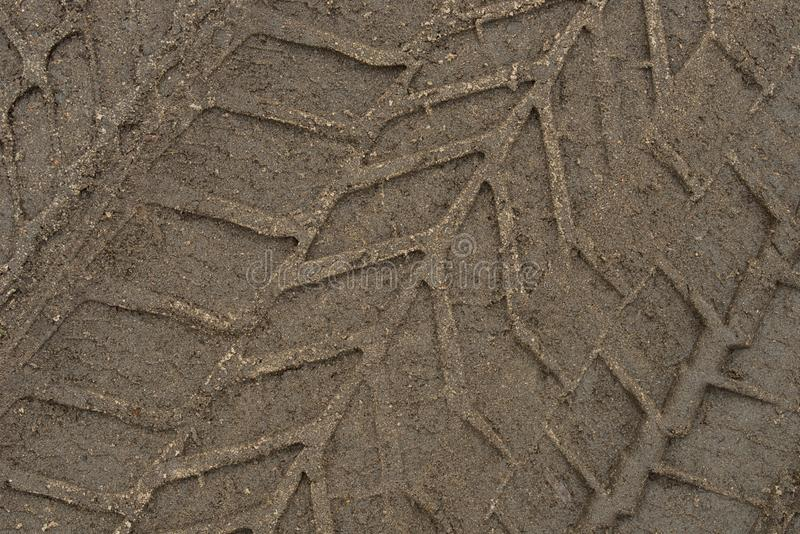 Tire print on ground stock photography