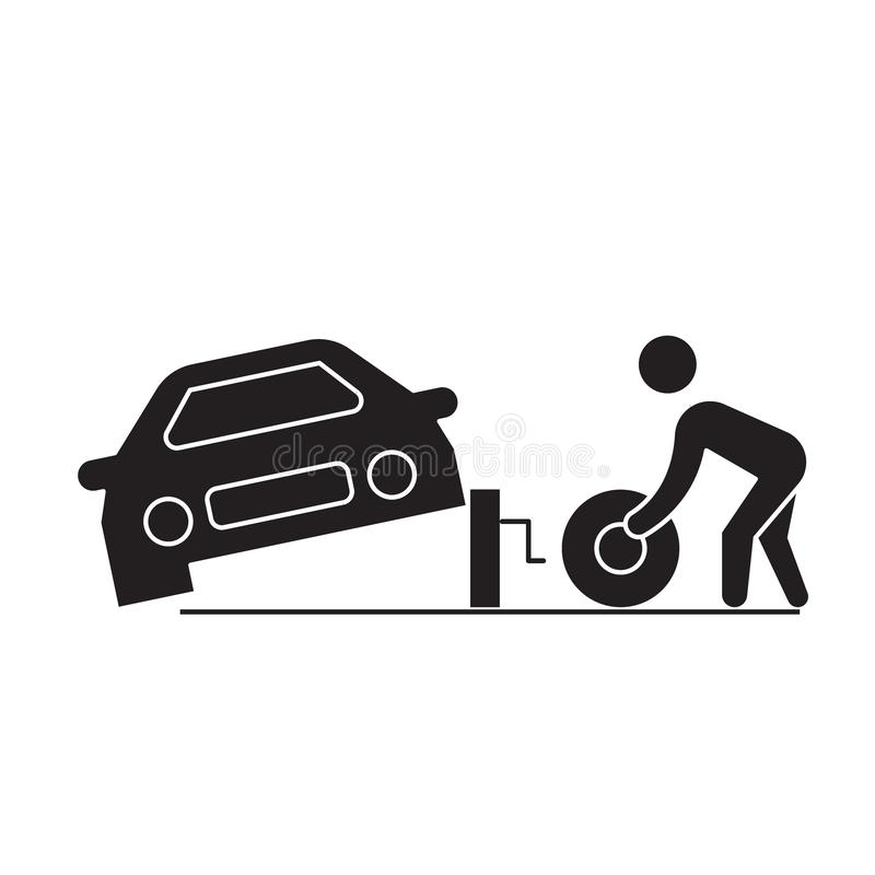Tire replacement black vector concept icon. Tire replacement flat illustration, sign stock illustration
