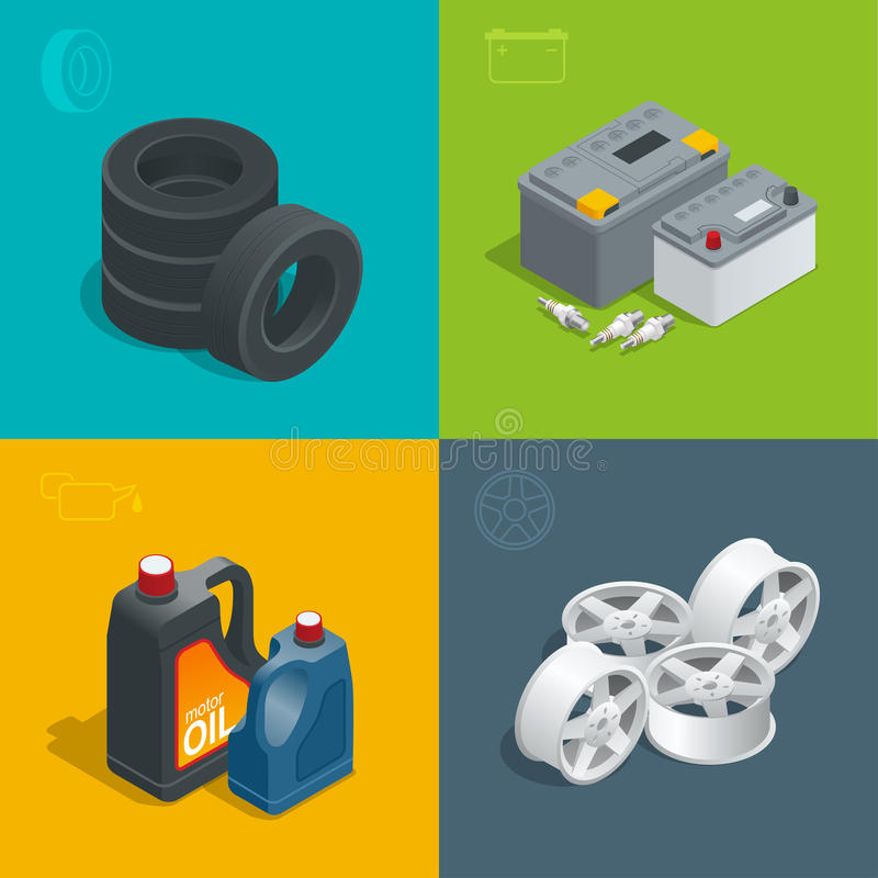 Tire service car auto, repair icons flat 3d set isolated vector isometric illustration. Consumables for car vector illustration