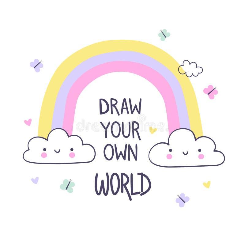 Tire seu próprio mundo A ilustra??o da tra??o da m?o para crian?as imprime ilustração do vetor
