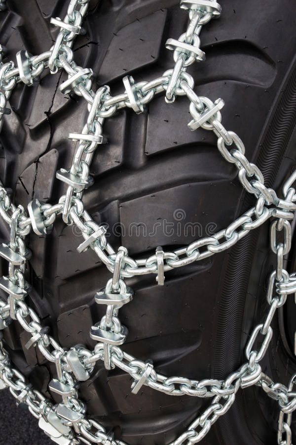 Download Tire with snow chains stock image. Image of closeup, chain - 28549121