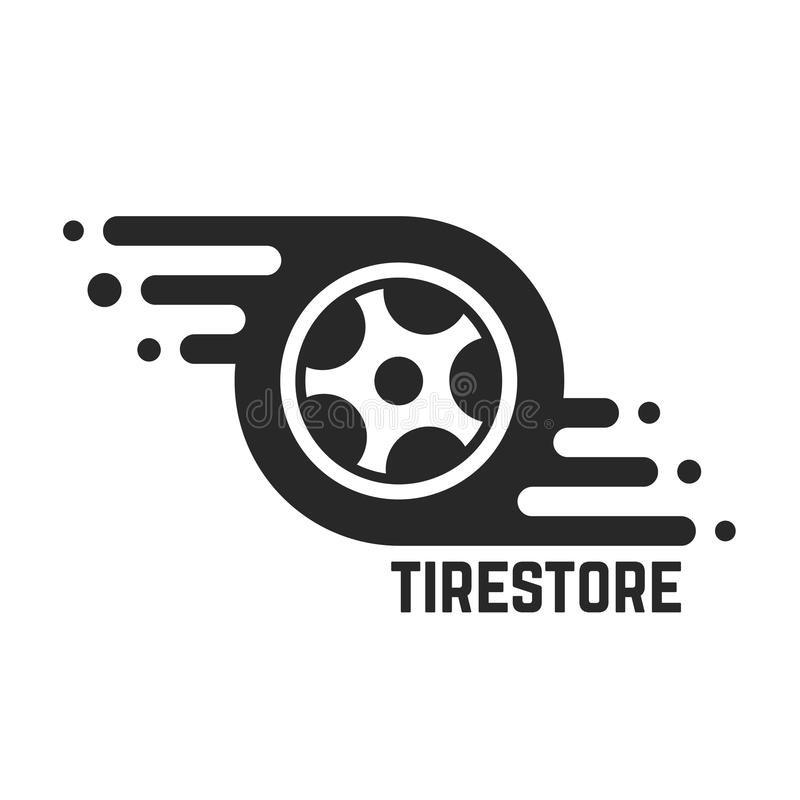 Tire store with abstract tyre. Concept of 24 hour support, protector, auto station, maintenance, machine disk. isolated on white background. flat style trend stock illustration