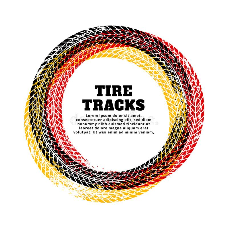 Tire track circle frame background vector illustration