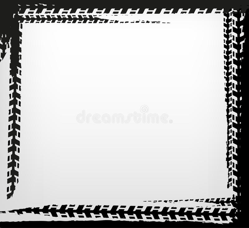 Tire track frame. Grunge tire track frame in square shape. Beautiful vector illustration in dark grey colours isolated on a white background stock illustration