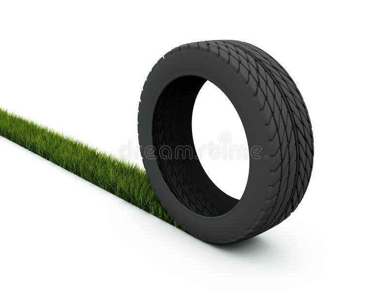 Tire with track from gras royalty free illustration