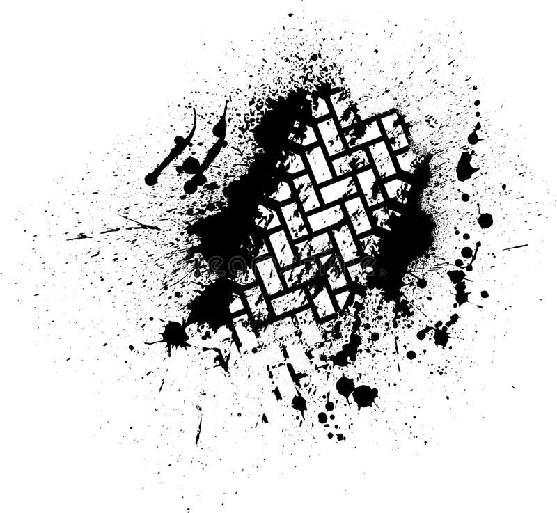 Tire track with ink blots vector illustration