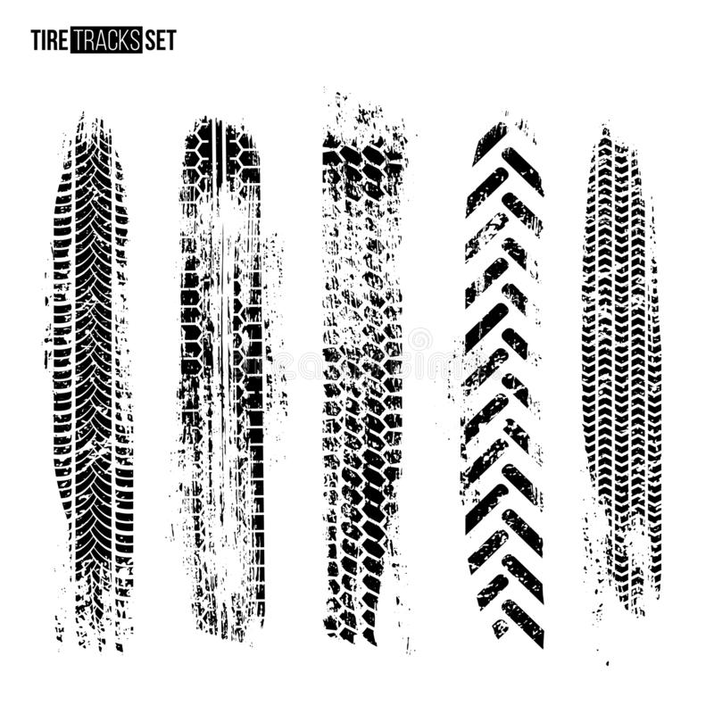 Tire track texture set isolated on white background. Vector design elements. stock illustration