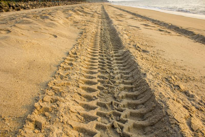A ire track in yellow sand on the ocean beach. Tire track in yellow sand on the ocean beach stock photos