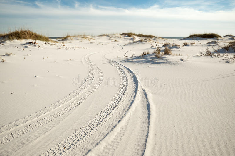 Tire Tracks in Beach Sand Dunes at Dusk royalty free stock photo