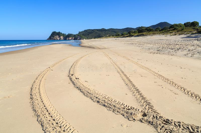 Tire tracks on a long stretch of beach. Tire tracks crisscross and disappear off into the distance on a long strip of sandy beach. Whiritoa, New Zealand royalty free stock image