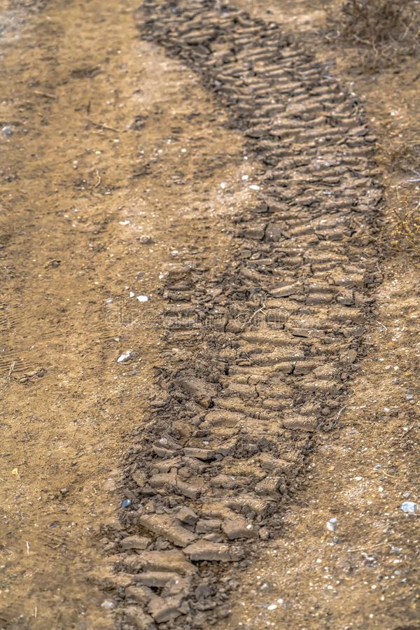 Tire tracks on dried mud in Utah Valley royalty free stock photography