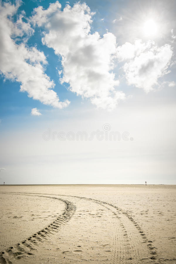 Download Tire Tracks In Sand With Backlight Stock Image - Image: 30366753
