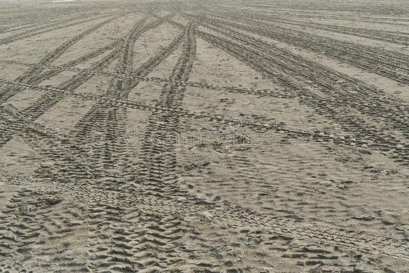 Tire tracks. On the sand of the beach royalty free stock image