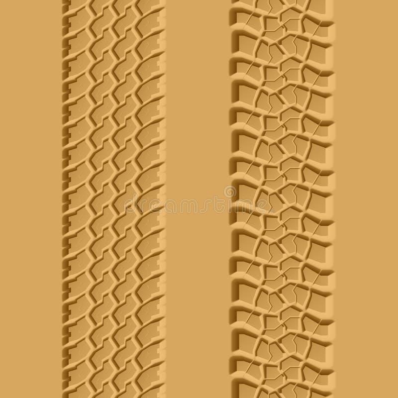 Tire tracks. Seamless illustration.