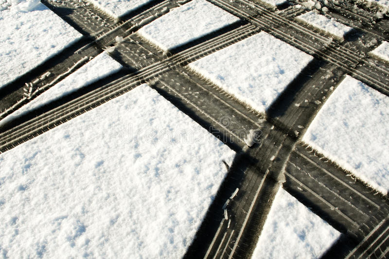 Download Tire Tracks In The Snow Royalty Free Stock Image - Image: 11128776