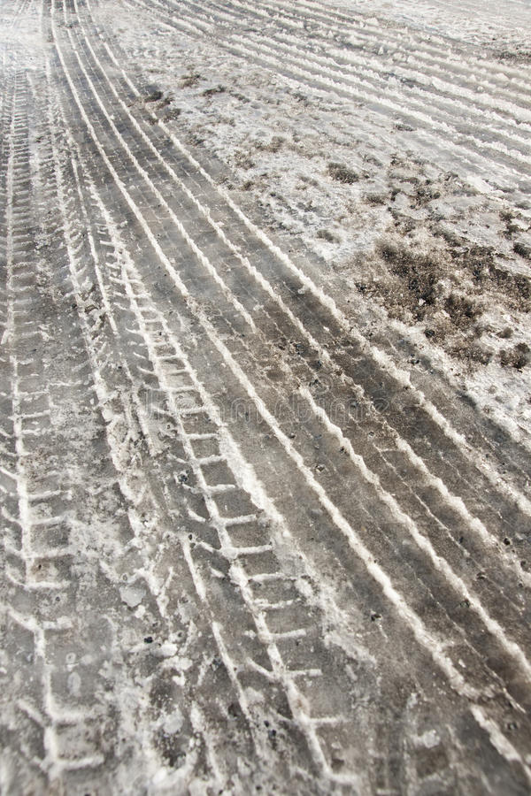 Download Tire Tracks In Snow Stock Photo - Image: 16358740