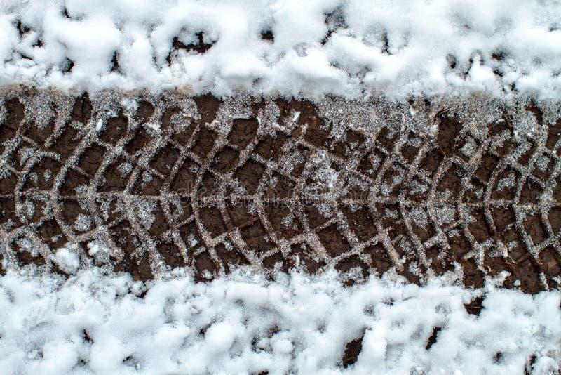 Tire Tracks in Snow stock image