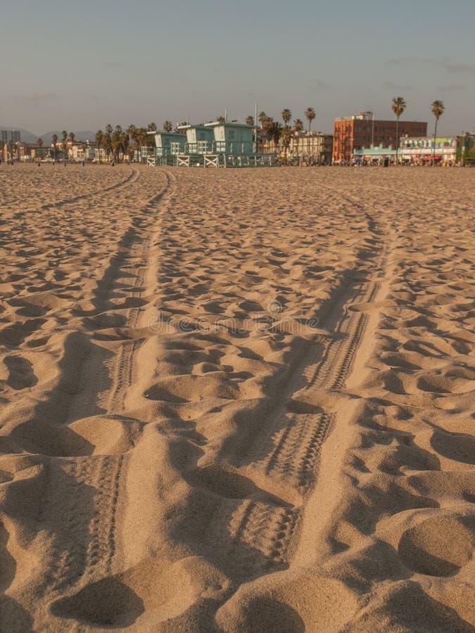 Tire Tracks at Venice Beach stock photography