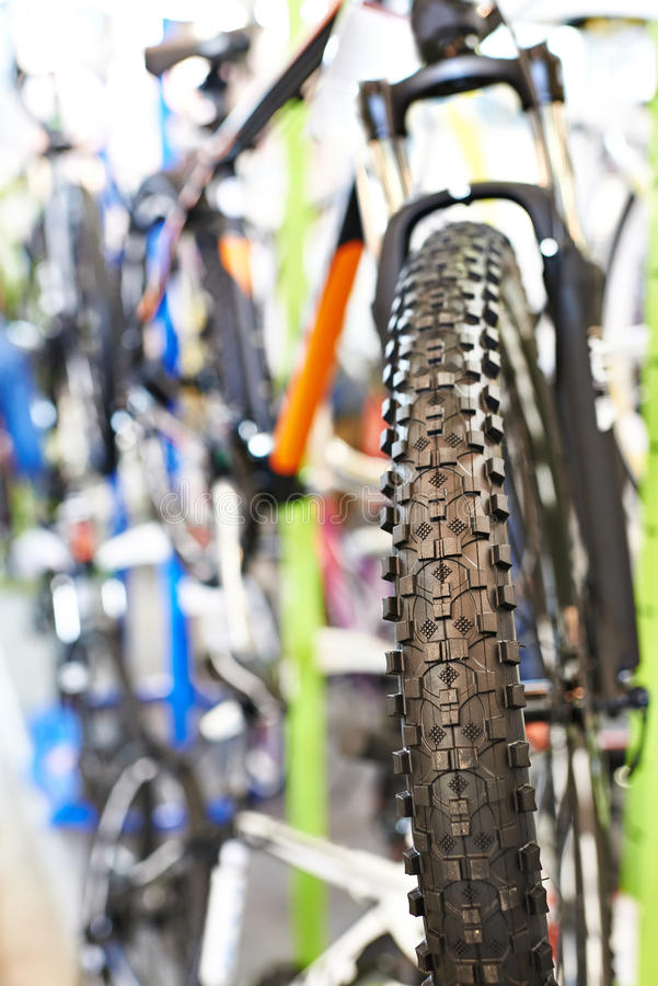 Tire tread of front wheel sports mountain bike royalty free stock images
