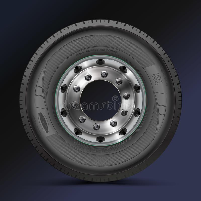 Tire, tyre, wheel. High quality illustration of typical truck fore wheel, isolated on color background stock illustration