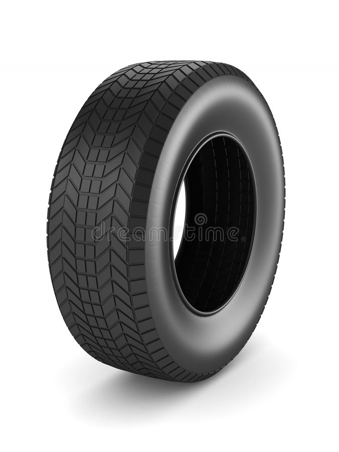 Tire on white background. Isolated 3D illustration.  royalty free illustration