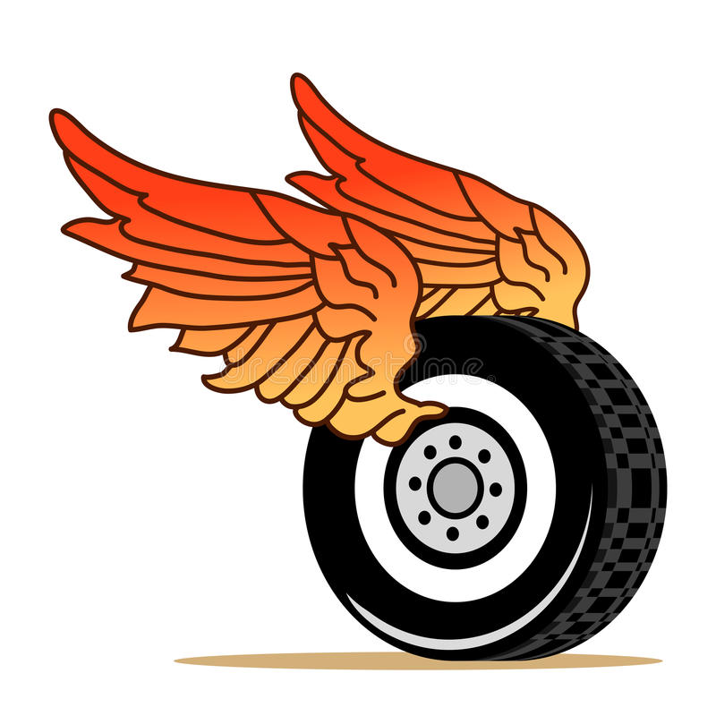 Tire wings vector illustration
