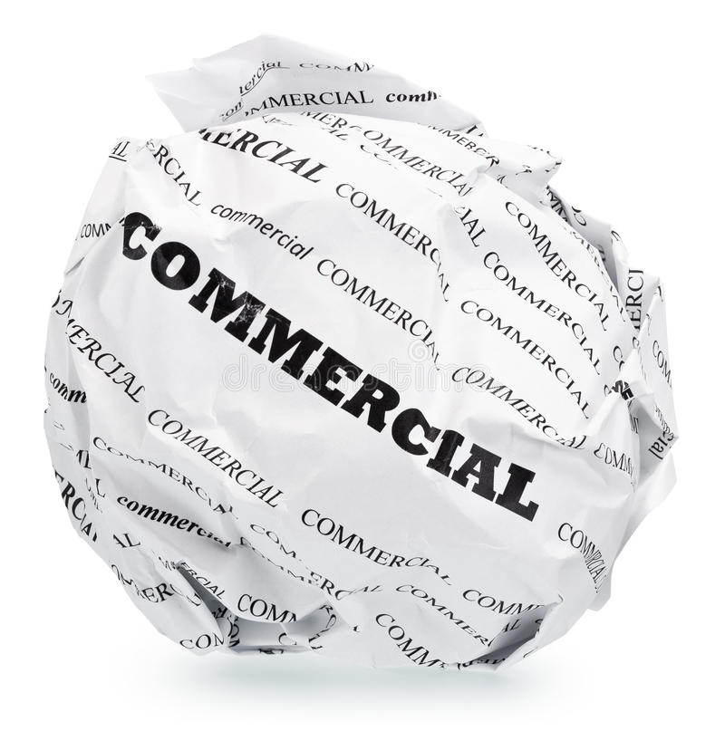 Tired of advertising?. Ball of crumpled paper with conceptual text. Isolated with clipping path, expanding the zone of focus achieved by picking out a few photos stock image