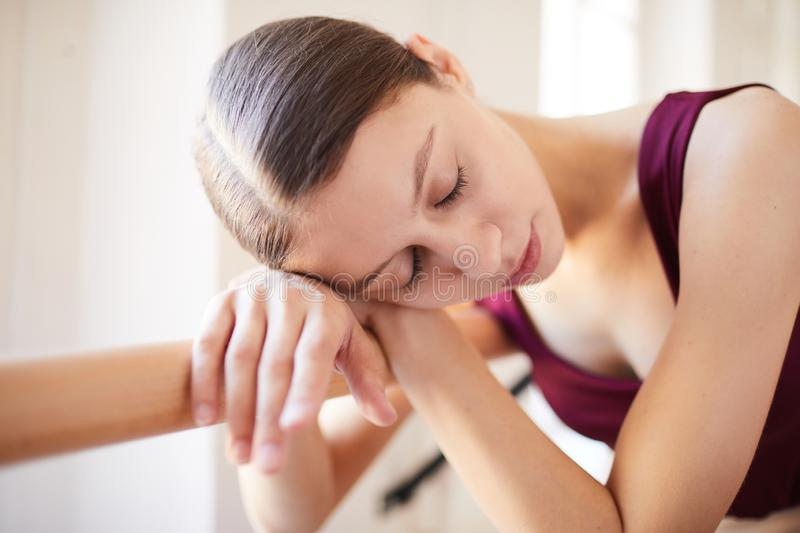 Tired from ballet training royalty free stock photos