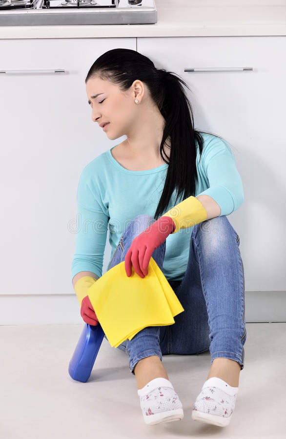 Tired Beautiful Women After Cleaning The House Stock Image
