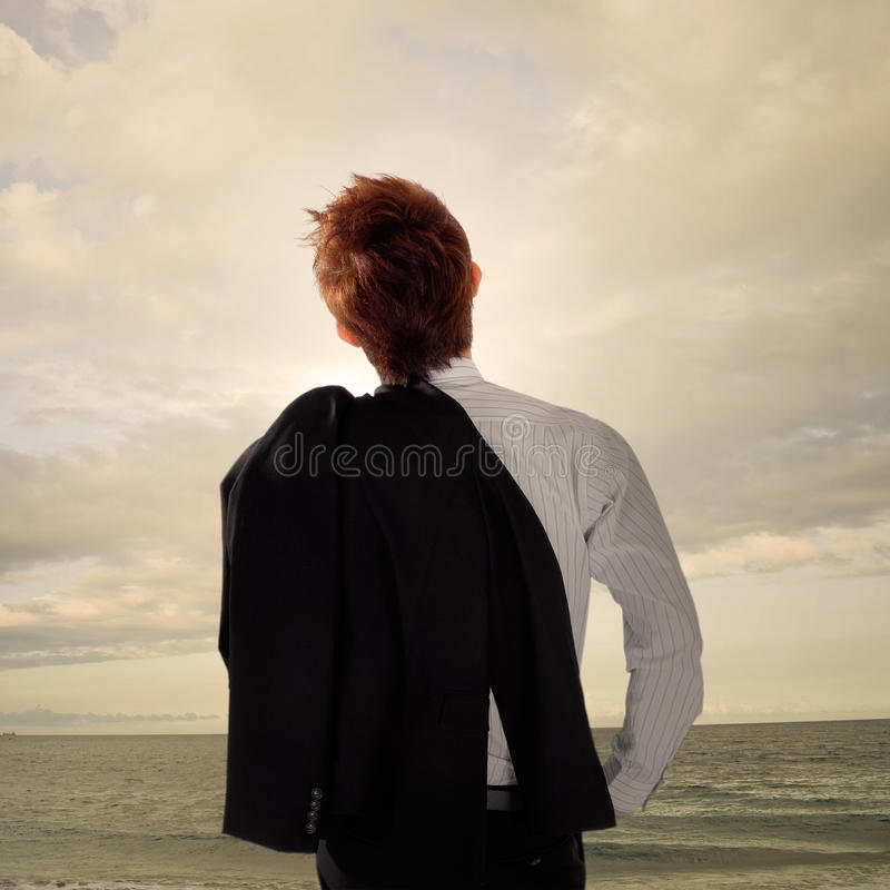 Tired business man royalty free stock image