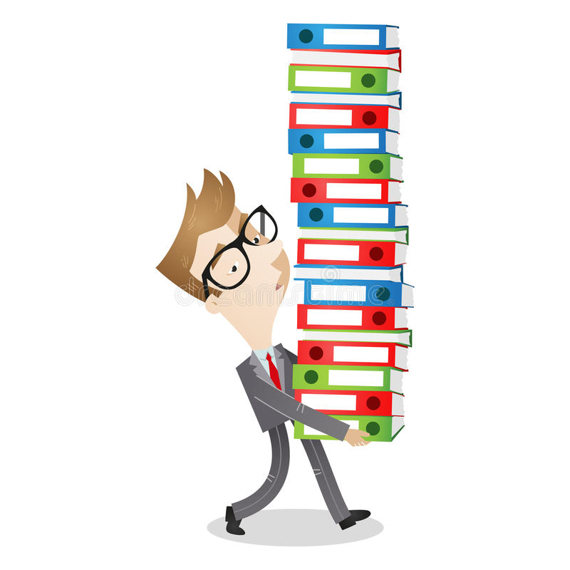 Tired businessman carrying paperwork royalty free illustration
