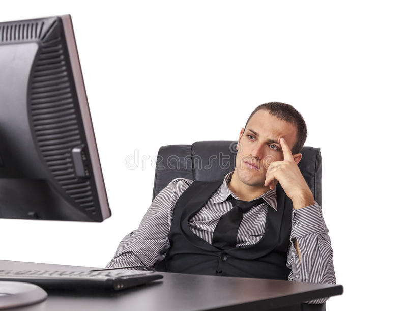 Tired Businessman in Front of His Computer royalty free stock photo