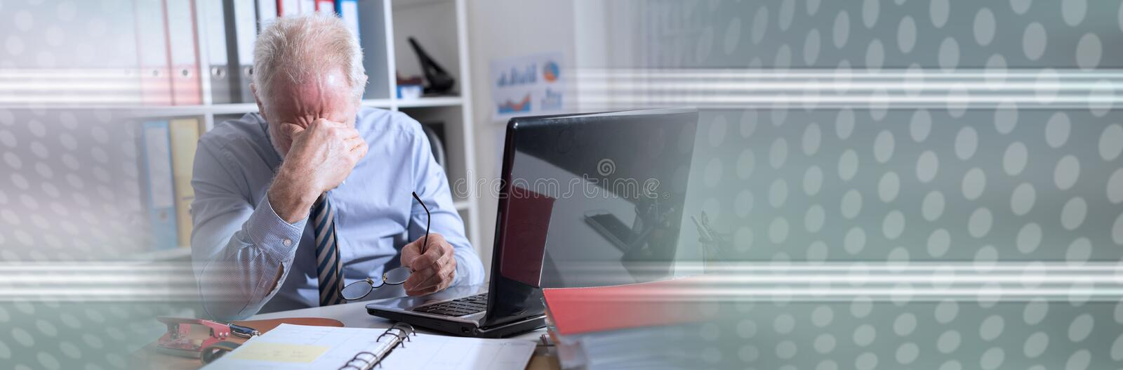 Tired businessman with headache; panoramic banner stock images
