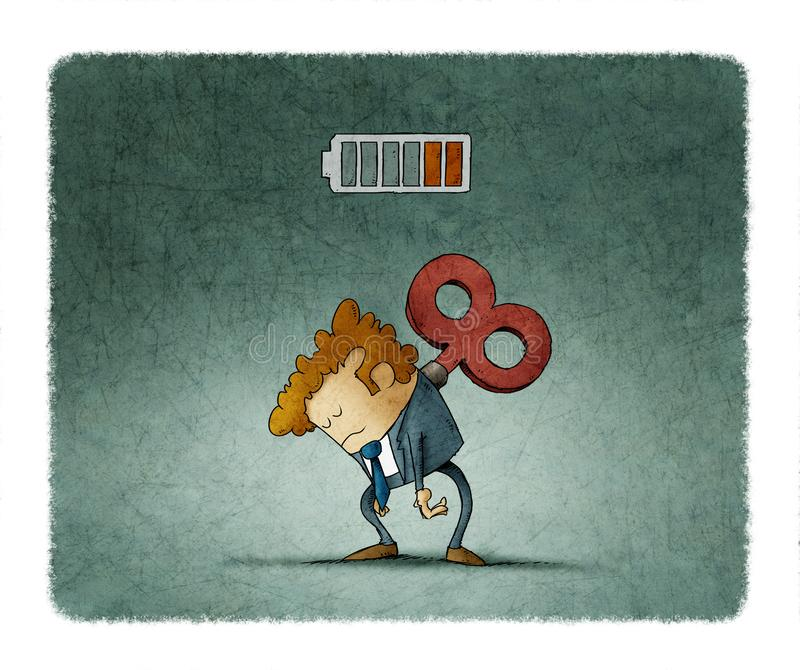 Tired businessman with a key winder on her back. Has no energy. illustration stock illustration