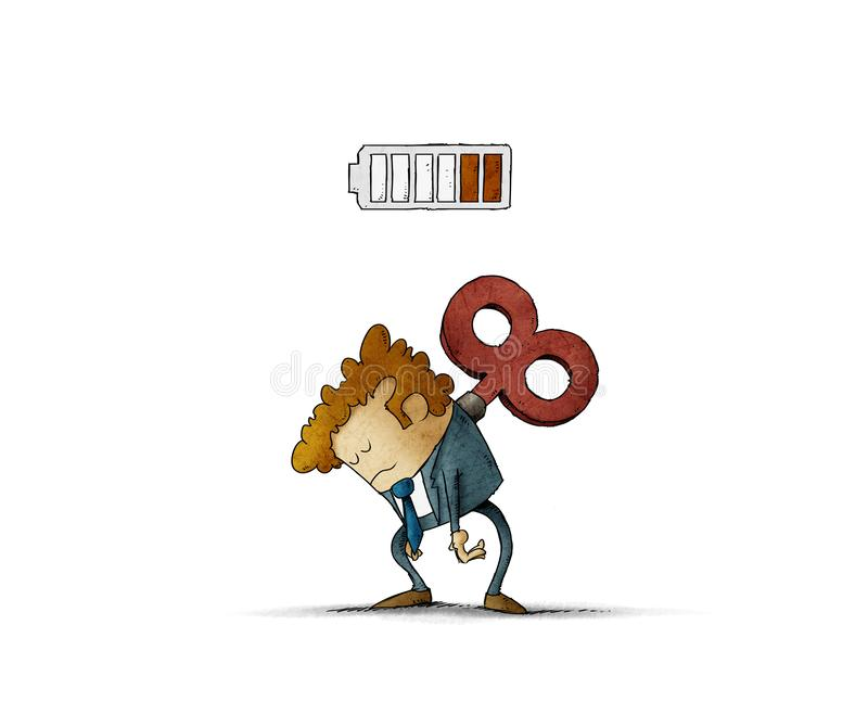 Tired businessman with a key winder on her back. Has no energy. illustration, isolated stock illustration