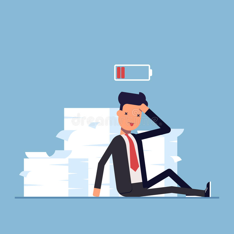 Tired businessman or manager sitting near the pile of documents. Deadline. No energy to work. Discharged battery. Vector stock illustration