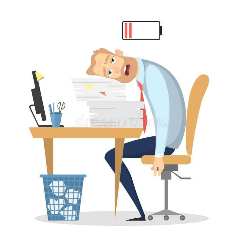 Tired businessman at office. stock illustration