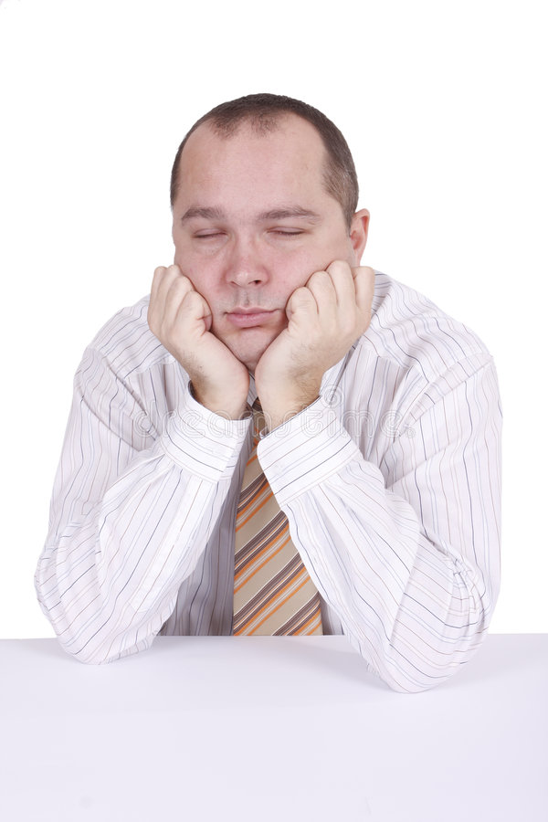 Download Tired Businessman Sitting Near Desk And Sleeping Stock Image - Image: 7379499