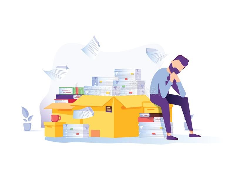 Tired businessman sitting on the pile of documents clutching his head with the piles of paper document around. Overwork vector illustration