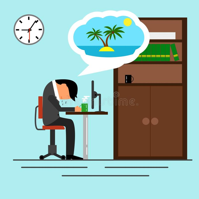 Tired Businessman Sleeping in The Office Dreaming about Vacation royalty free illustration