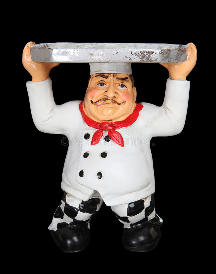 Download Tired Chef With Serving Tray Stock Image - Image: 14822961