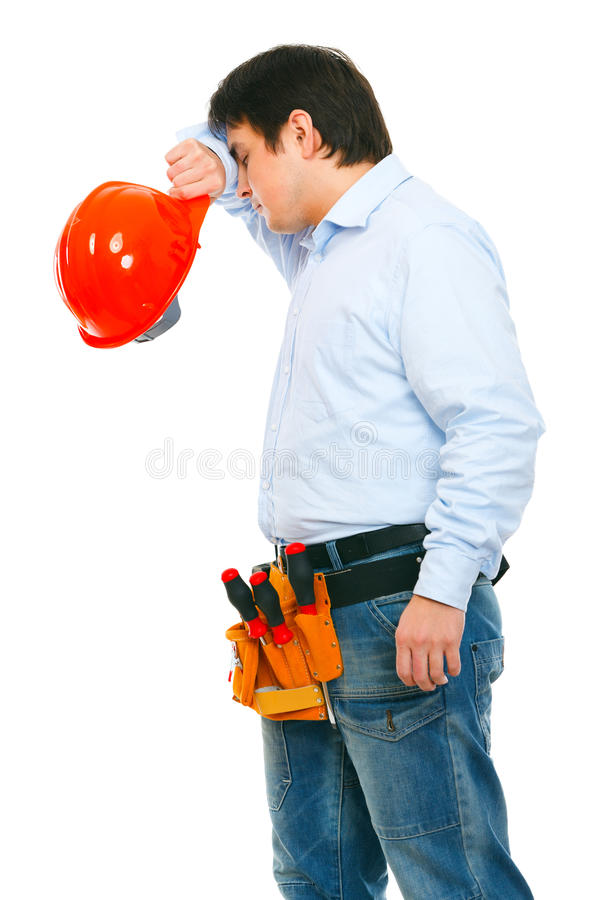 Tired construction worker royalty free stock photos