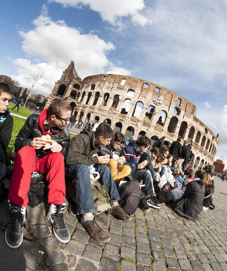 Tired crowd in front of the Colloseum in Rome royalty free stock photo