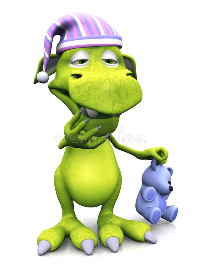Download Tired Cute Cartoon Monster Wearing Nightcap. Stock Photography - Image: 18623162