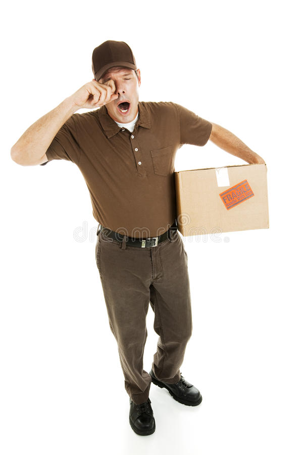 Tired Delivery Man stock photo