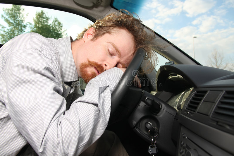 Tired driver stock photography